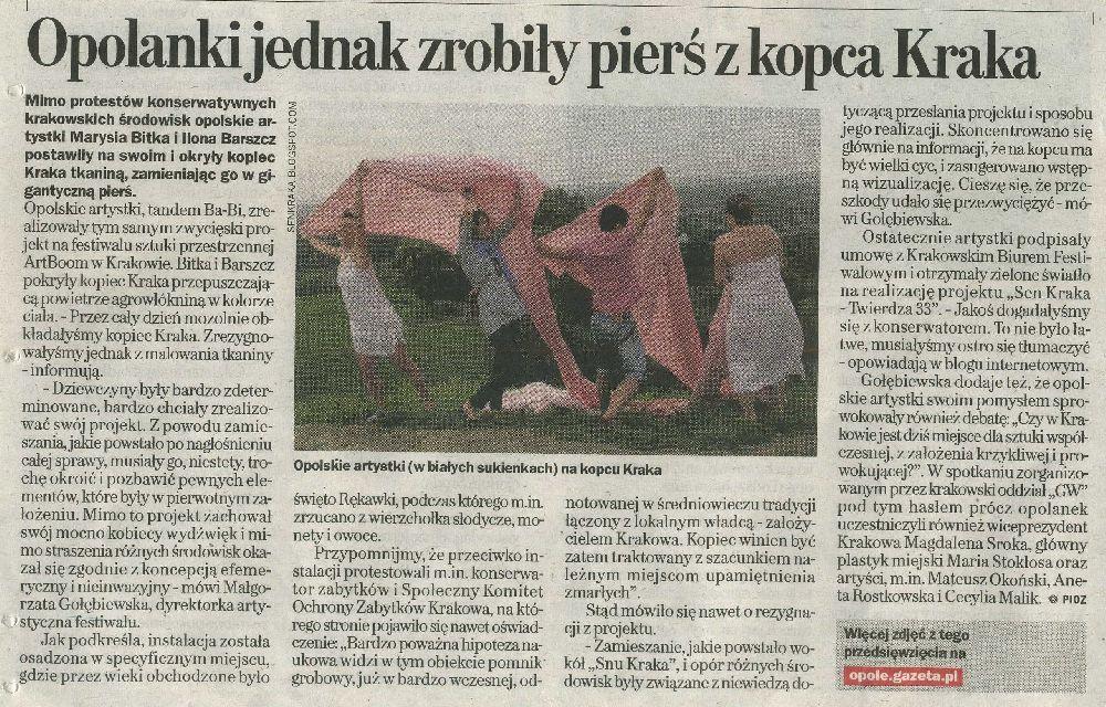Papierowy artykuł z opolskiej Wyborczej 27 czerwca 2012