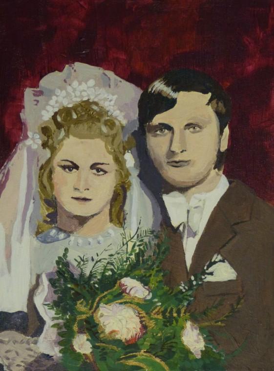 portret na rocznicę ślubu akryl na półtnie