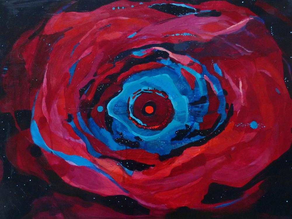 czerwona akryl na płótnie 60 x 80